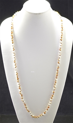 "CN368WTBR 36"" 8MM TOPAZ/IVORY CRYSTAL NECKLACE"