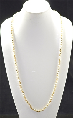 "CN368WTLB 36"" LIGHT BEIGE/IVORY CRYSTAL NECKLACE"