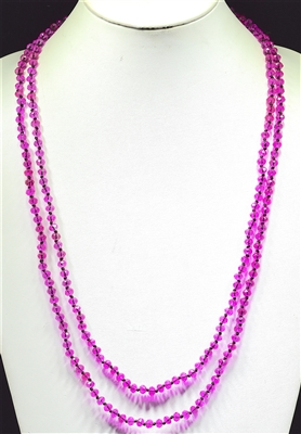 "CN606CFU 60"" 6MM FUSHA CRYSTAL NECKLACE"