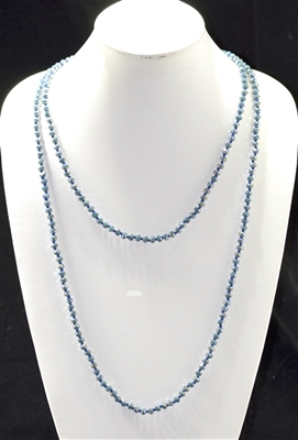 "CN606GMB 60"" 6MM TEAL BLUE CRYSTAL NECKLACE"
