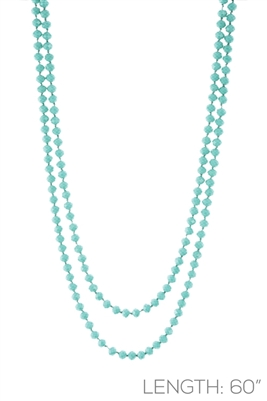 "CN606GMT 60"" 6MM MINT CRYSTAL NECKLACE"