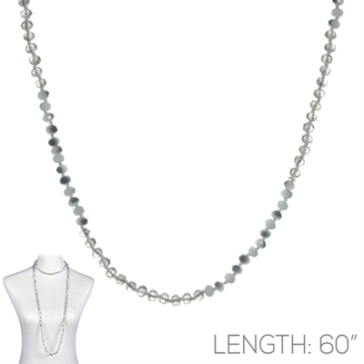 "CN606GYWG 60"" 6MM GRAY & WHITE GRAY CRYSTAL NECKLACE"