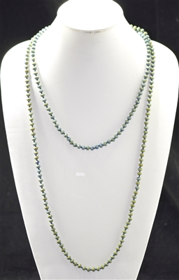 CN606MGR 60'' 6MM MATTE AB GREEN CRYSTAL NECKLACE
