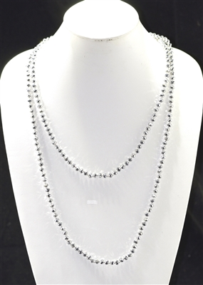 "CN606SL 60"" 6MM SILVER CRYSTAL NECKLACE"