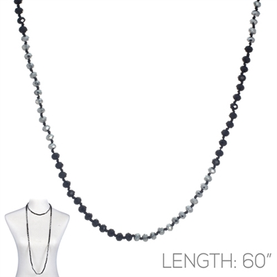 "CN606SLBK 60"" 6MM SILVER & BLACK CRYSTAL NECKLACE"
