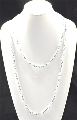 "CN606WTGY 60"" 6MM WHITE/GRAY CRYSTAL NECKLACE"