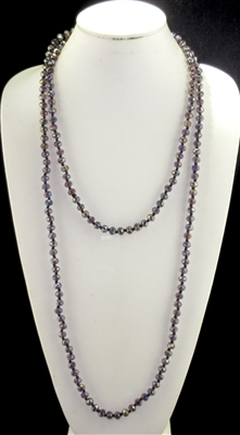 "CN608ABPU 60"" 8MM CLEAR AB PURPLE CRYSTAL NECKLACE"