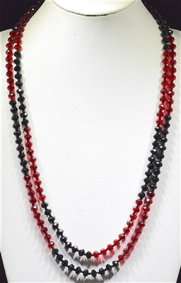 "CN608BKRD 60"" 8MM BLACK &RED CRYSTAL NECKLACE"