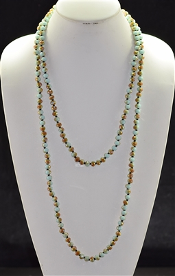 "CN608BRMT 60"" 8MM BROWN & MINT CRYSTAL NECKLACE"