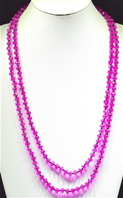 "CN608CFU 60"" 8MM FUSHA CRYSTAL NECKLACE"