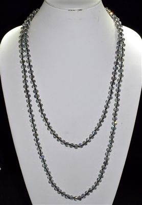 "CN608CGY 60"" 8MM GRAY CRYSTAL NECKLACE"
