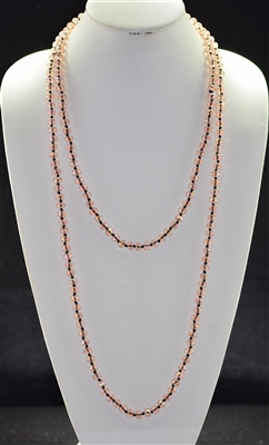 "CN608CLP 60"" 8MM SOFT PINK CRYSTAL NECKLACE"