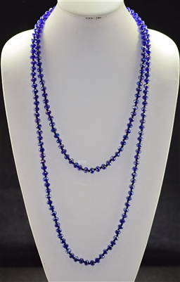 "CN608CRB 60"" 8MM ROYAL BLUE CRYSTAL NECKLACE"
