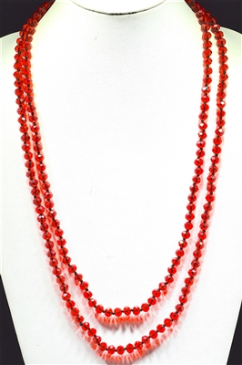 "CN608CRD 60"" 8MM  CLEAR RED CRYSTAL NECKLACE"