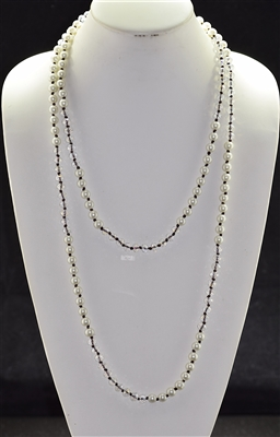 "CN608CRPR 60"" 8MM PEARL & CLEAR CRYSTAL NECKLACE"