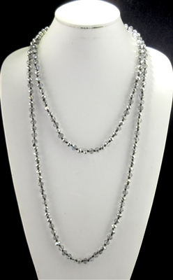 "CN608CRSL 60"" 8MM CLEAR SILVER CRYSTAL NECKLACE"