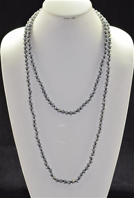 "CN608GGY 60"" 8MM GRAY CRYSTAL NECKLACE"