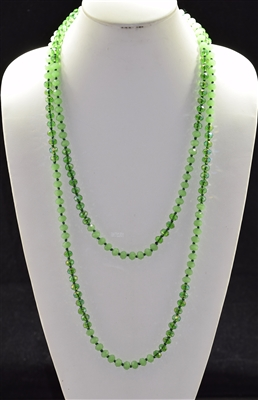 "CN608GNCG 60"" 8MM AB GREEN CRYSTAL NECKLACE"