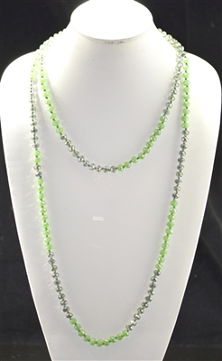 "CN608GNGY 60"" 8MM GREEN & GRAY CRYSTAL NECKLACE"