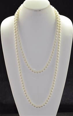 "CN608GPR 60"" 8MM GLASS PEARL NECKLACE"