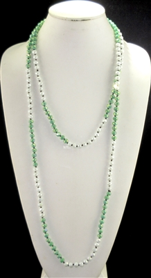 "CN608GRWH 60"" 8MM SOFT GREEN/WHITE CRYSTAL NECKLACE"