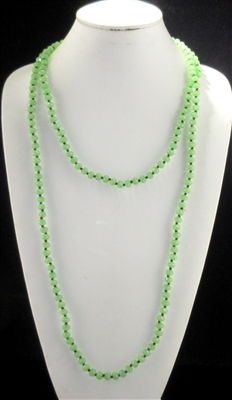 "CN608KYLM 60"" 8MM SOFT KEY LIME GREEN CRYSTAL BEADED NECKLACE"