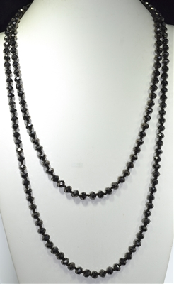 "CN608MB 60"" 8MM METALLIC BLACK CRYSTAL NECKLACE"