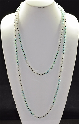 "CN608MKMT 60"" 8MM WHITE & MINT CRYSTAL NECKLACE"