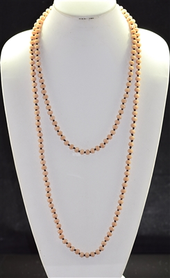 "CN608MPE 60"" 8MM MATTE PEACH CRYSTAL NECKLACE"