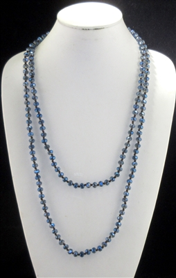 "CN608NYBL 60"" 8MM CLEAR NAVY BLUE CRYSTAL NECKLACE"