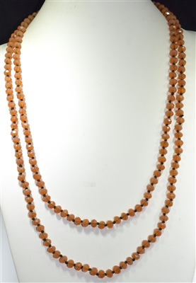 "CN608OR 60"" 8MM ORANGE CRYSTAL BEADED NECKLACE"