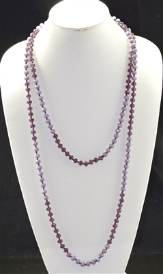 "CN608PUPU 60"" 8MM AB PURPLE CRYSTAL NECKLACE"