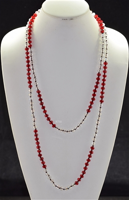 "CN608RDCR 60"" 8MM CLEAR & RED CRYSTAL NECKLACE"