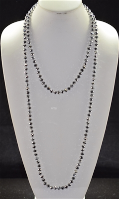 "CN608SL 60"" 8MM METALLIC SILVER CRYSTAL NECKLACE"