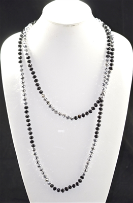 "CN608SLBK 60"" 8MM SILVER & BLACK CRYSTAL NECKLACE"
