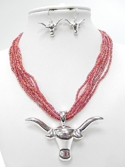 CNE1609 BEADED BULLS HEAD NECKLACE SET