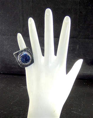CR118 CRYSTAL DARK BLUE CLAY DRUZY RING