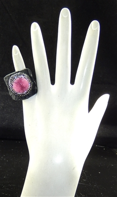 CR121 CRYSTAL PINK CLAY DRUZY RING