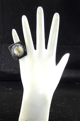 CR122 CRYSTAL OFF WHITE CLAY DRUZY RING