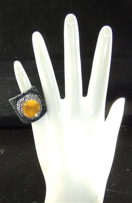 CR124 CRYSTAL ORANGE CLAY DRUZY RING
