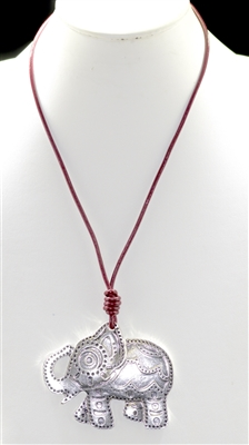 DN9660 HAMMERED SILVER ELEPHANT LONG NECKLACE
