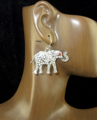 E1359 RHINESTONE SILVER ELEPHANT EARRINGS