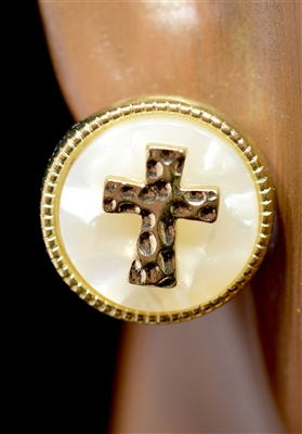 E9020 HAMMERED CROSS TORTOISE SHELL STUDS