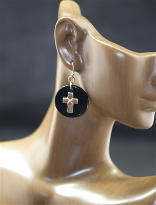 E9050 ANTIQUE CROSS/CIRCLE POST EARRINGS