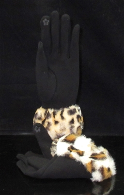 EAGL3551-1 BBLACK ANIMAL PRINT GLOVES