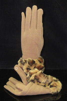 EAGL3551 BROWN ANIMAL PRINT GLOVES