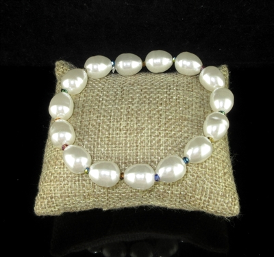 ELE1123 PEARL/CRYSTAL BEAD STRETCH BRACELET