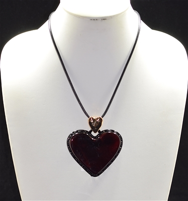 EN1061 Stitched ACRYLIC HEART Necklace