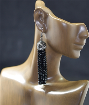 ER0007 KNITTED CRYSTAL BEADED TASSEL EARRINGS