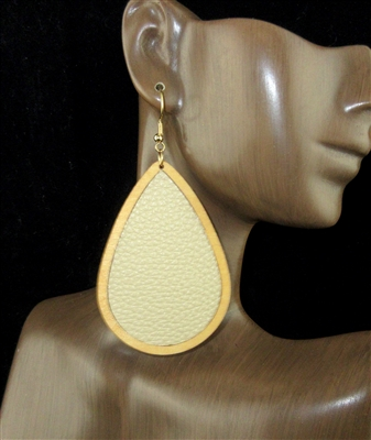 FER4031 WOODEN LEATHER TEARDROP EARRINGS